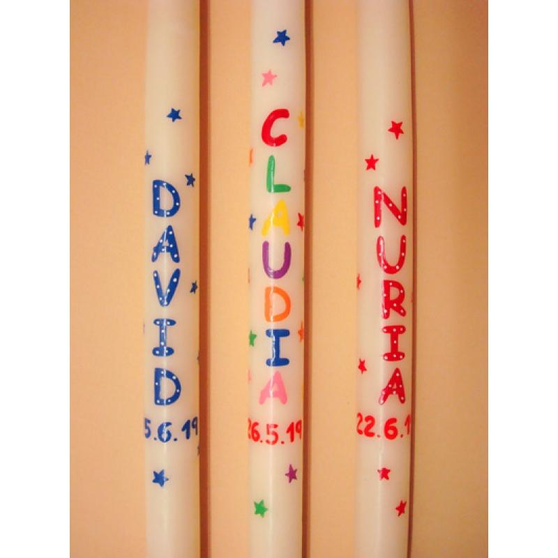 CIRIO PINTADO  Personalizado letras grandes (3x50cm)