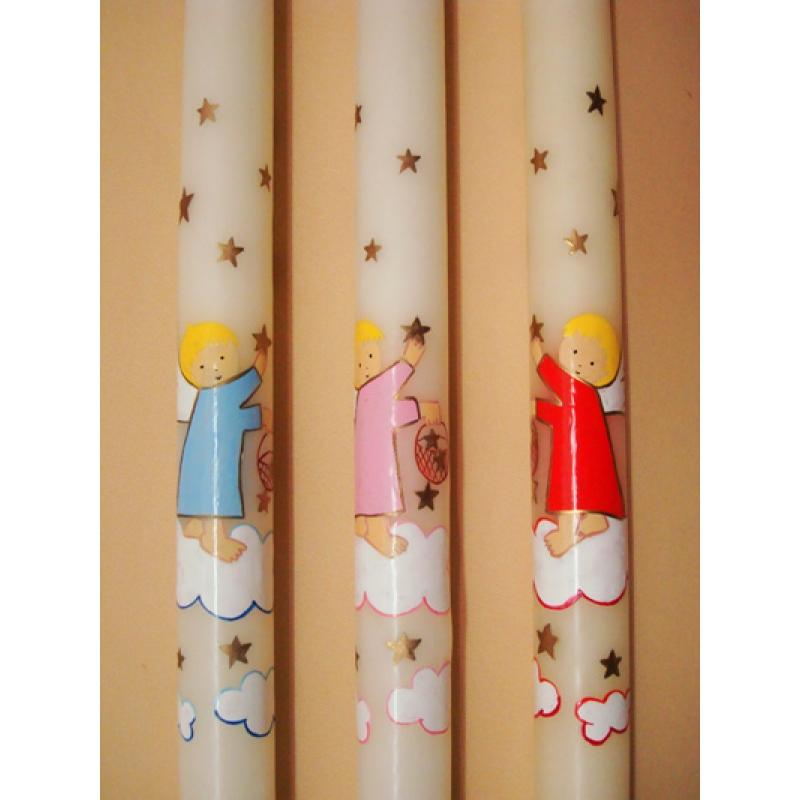 CIRIO PINTADO Angel cesto estrellas (3x50cm)