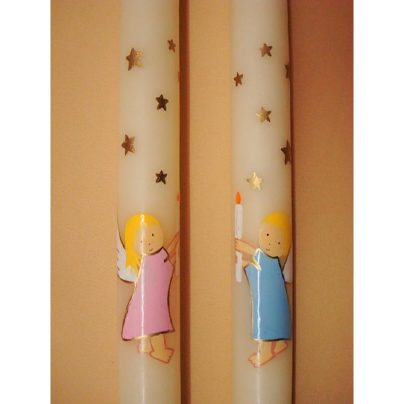 CIRIO PINTADO Angel con cirio (3x50cm)