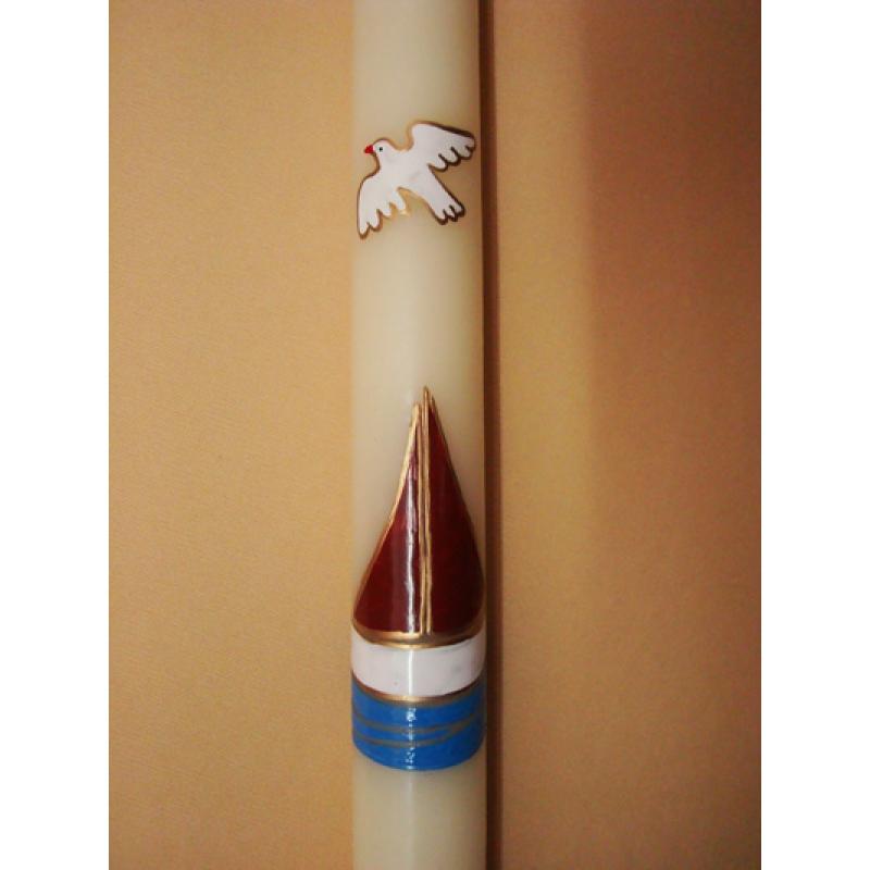 CIRIO PINTADO Barca y paloma (3x50cm)