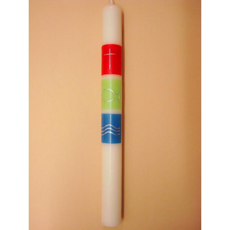 CIRIO DECORADO CERA Cuadrados colores (3,5x40cm)