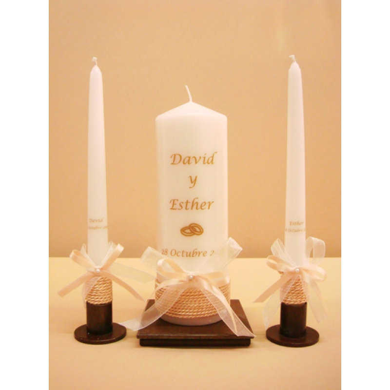 SET VELAS CEREMONIA CORDON 7x20cm