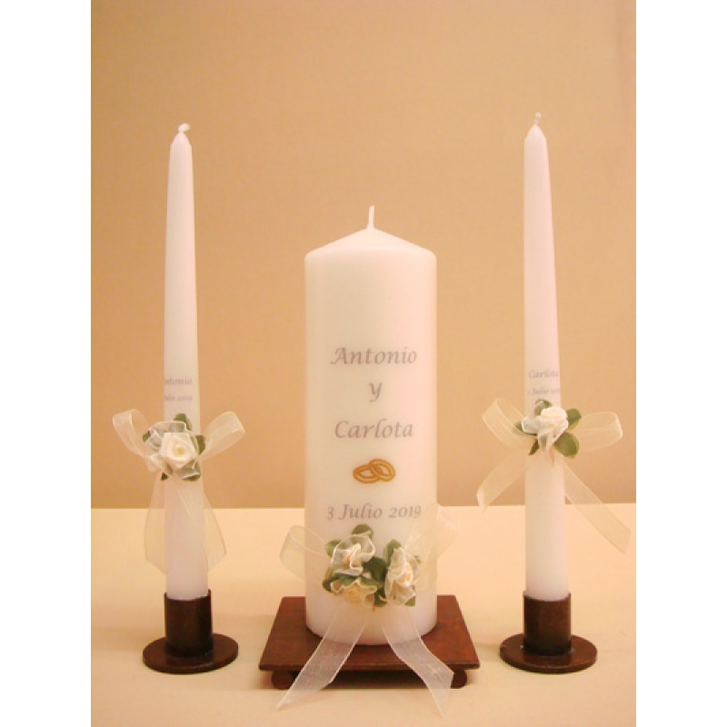 SET VELAS CEREMONIA RAMO 7x20cm