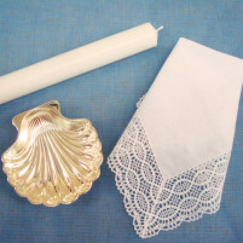Accesorios para bautizo y cirios sin decorar